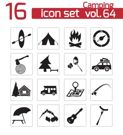 Vector black camping icons set Stock Vector - 21959696