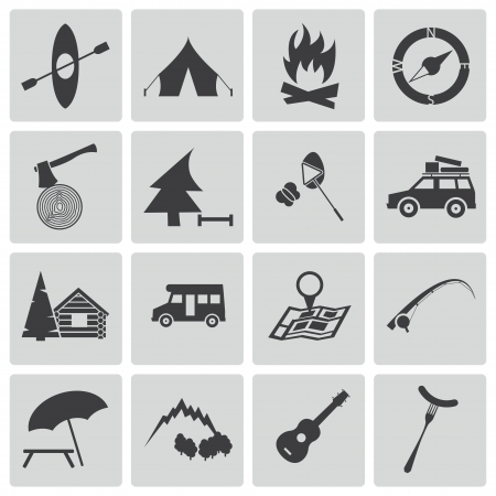 camp fire: Vector black camping icons set