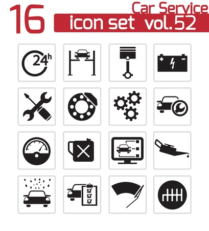 Vector negro iconos de servicio de automóviles establecen Ilustración de vector