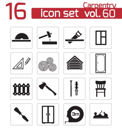 Vector black carpentry icons set Vector