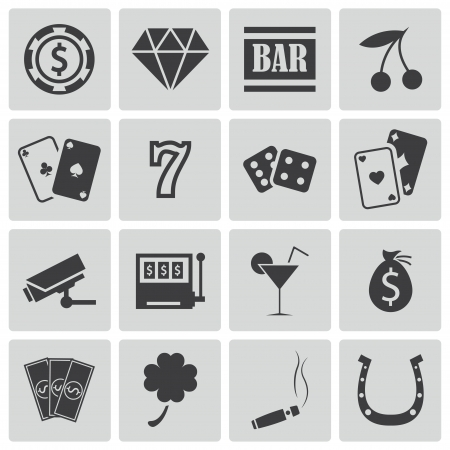 hotel casino: Vector black casino icons set Illustration
