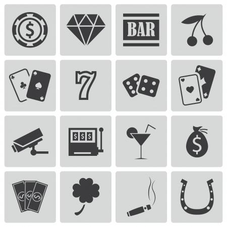 fichas casino: Vector iconos negros del casino fijados