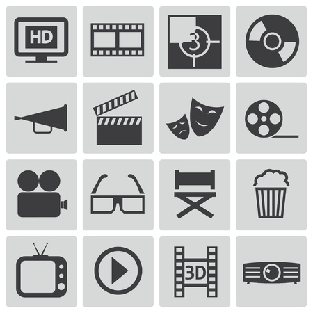 movie sign: Vector black  cinema icons set