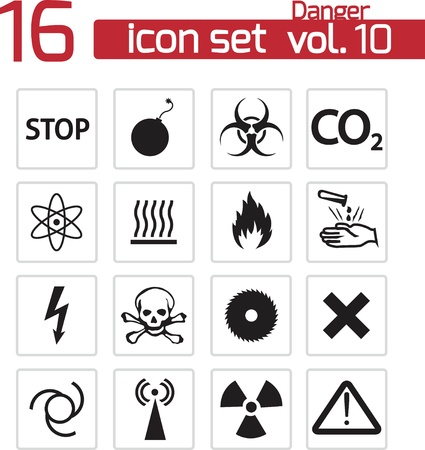 hazard damage: vector black danger icons set