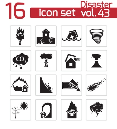 fire damage: Vector black disaster icons set Illustration