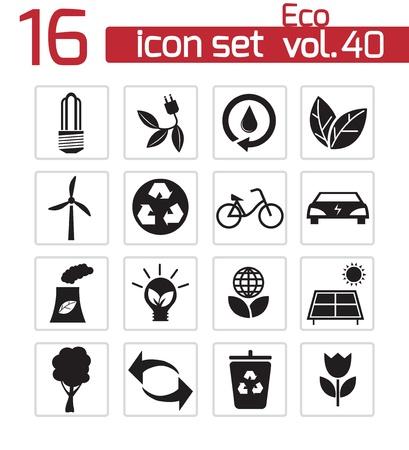 Vector black eco icons set Stock Vector - 21959744