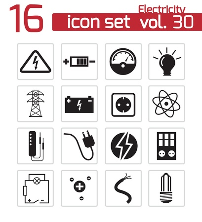 transformer: Vector black electricity icons set
