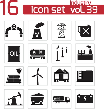 Vector black industry icons set Stock Vector - 21959781