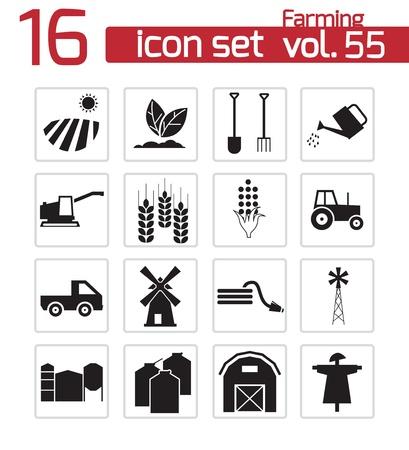 sheep barn: Vector black farming icons set Illustration