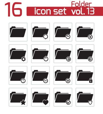Vector black folder icon set Stock Vector - 21959782