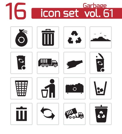 collections: Vector black garbage icons set