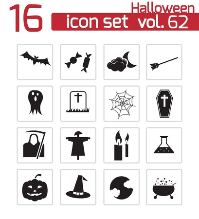 witch hat: Vector black halloween icons set