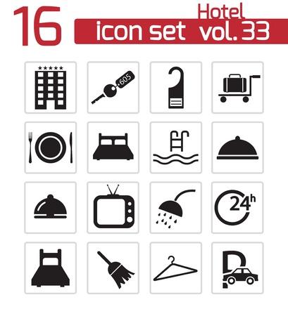 sleeping car: Vector black hotel icon set Illustration