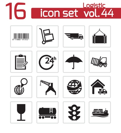 Vector black logistic icons set Stock Vector - 21959802