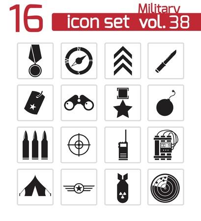 estrellas  de militares: Vector iconos negros militares establecidos Vectores