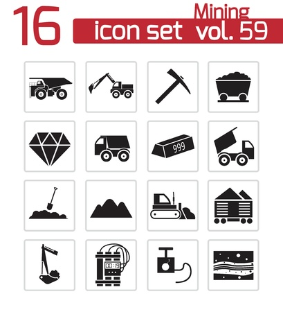 coal truck: Vector black mining icons set Illustration