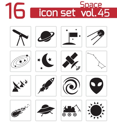 observatory: Vector black space icons set Illustration