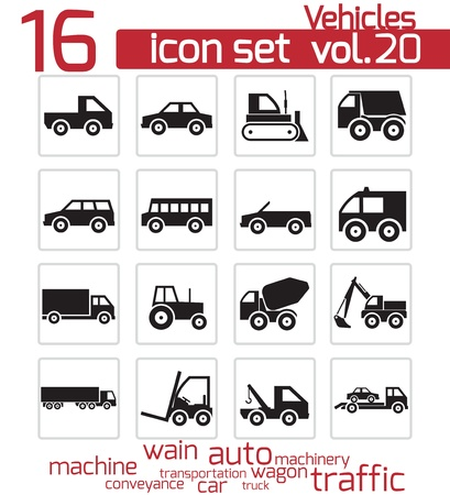 trailer truck: Vector black vehicle icon set