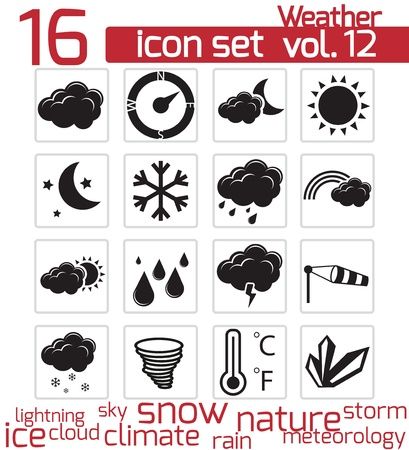 vector black weather icons set Stock Vector - 21959857