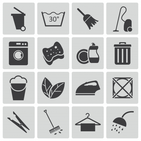 household objects equipment: black  cleaning icons set Illustration