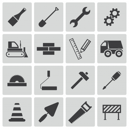 bulldozer: black  construction icons set