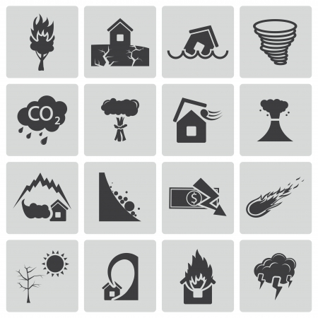 землетрясение: набор иконок черный бедствия