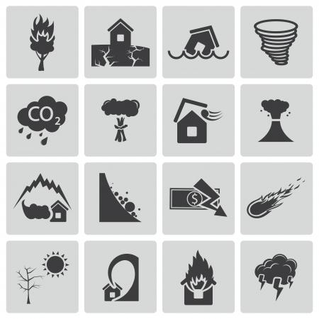 house flood: black  disaster icons set