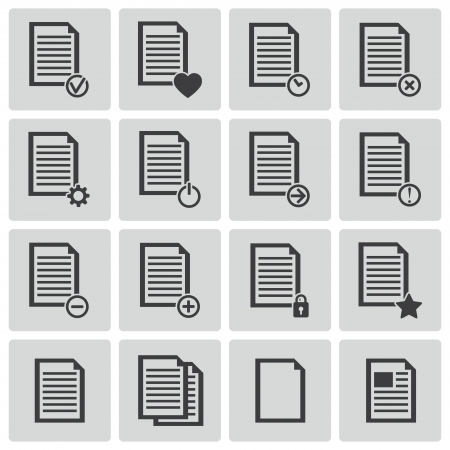 black  document icons set Stock Vector - 22011737