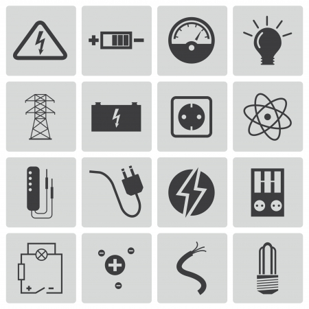 electrical wires: black  electricity icons set Illustration