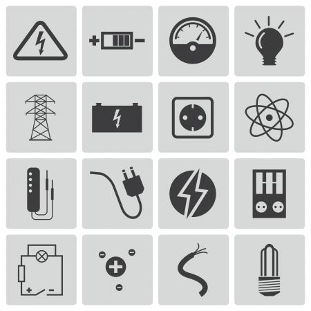 ingenieria el�ctrica: Iconos de electricidad negro conjunto