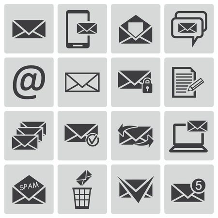 Vector black  email icons set Stock Vector - 22011743