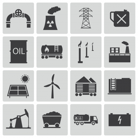 Vector black  industry icons set Vector