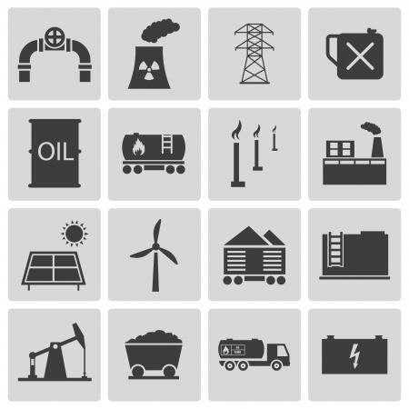 fuel storage: Vector black  industry icons set