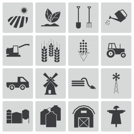 agriculture icon: black  farming icons set Illustration