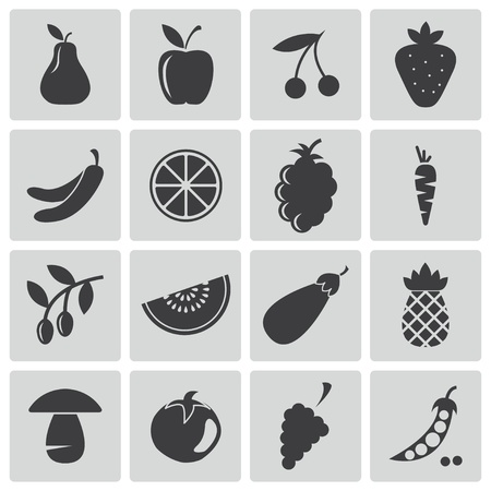 cherry tomato: black  food icons set