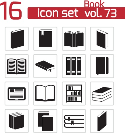 Vector black  book icons set Stock Vector - 22069503