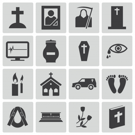 memorial candle: Vector black  funeral icons set Illustration