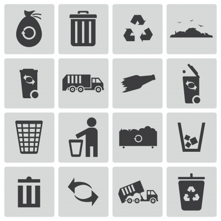 waste products: Vector black  garbage icons set