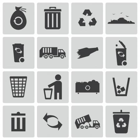 biodegradable: Vector black  garbage icons set