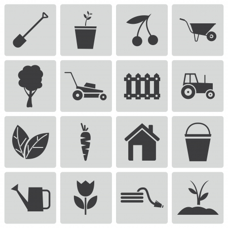 watering can: Vector black  gardening icons set