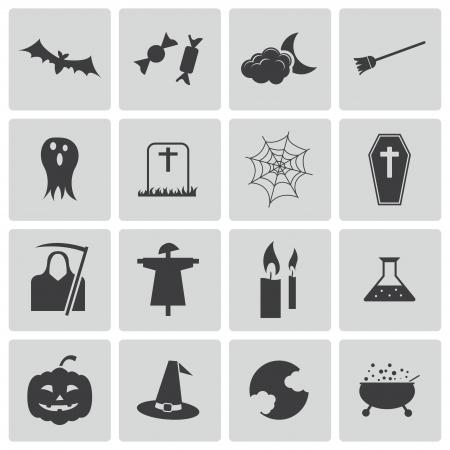 broom: Vector black  halloween icons set