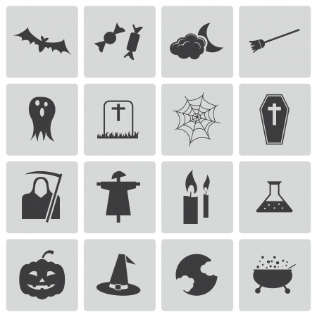 escoba: Vector negro iconos de halloween establecer