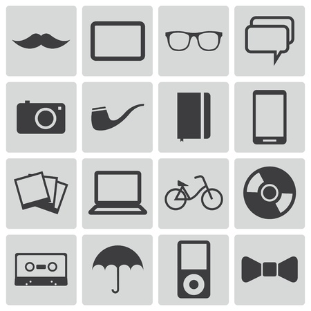 Vector black  hipster icons set Stock Vector - 22069510