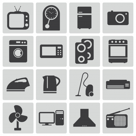 microwave oven: Vector black  home icons set