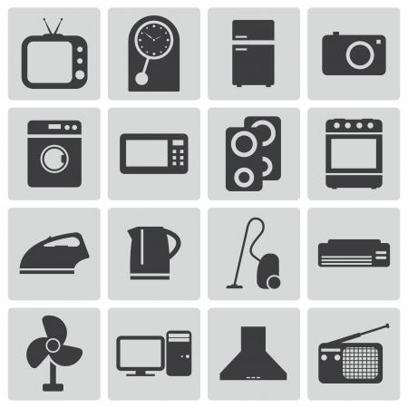 microondas: Vector iconos negros de origen establecidas
