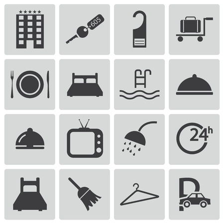 door bell: Vector black  hotel icons set Illustration