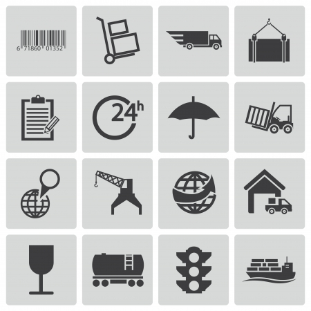 freight transportation: Vector black  logistic icons set Illustration
