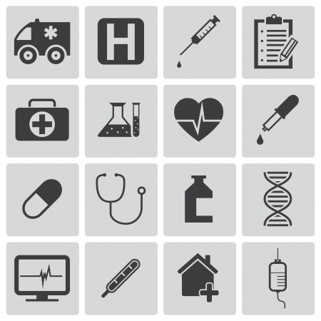 Vector black  medical icons set Stock Vector - 22069519