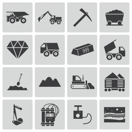 mining truck: Negro iconos mineras vector fijados