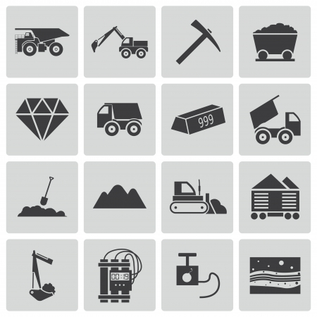 mining truck: Vector black  mining icons set